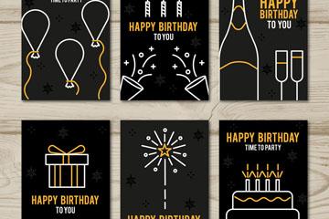 6款黑色简洁生日贺卡矢量素材