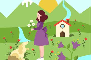 创意春季采花女子和宠物狗矢量图