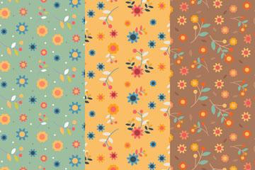 3款彩色春季花朵无缝背景矢量图