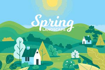 创意春季郊外房屋风景开户送体验彩金的网站