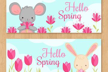 2款可爱春季动物banner矢量图