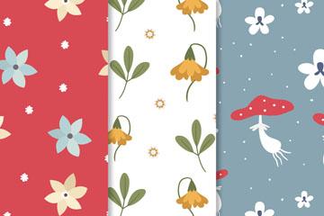 3款清新花卉和蘑菇无缝背景矢量图