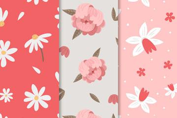 3款素雅春季花卉无缝背景矢量图