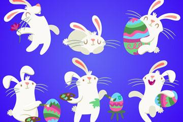 6款创意复活节兔子矢量图