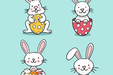 4款白色微笑兔子矢量素材