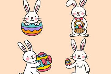 4款彩绘复活节彩蛋兔子矢量素材