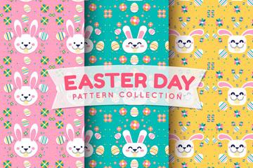 3款可爱复活节兔子头像无缝背景矢量图