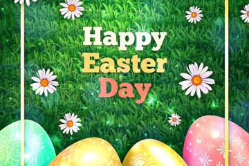 创意复活节绿地上的彩蛋矢量素材