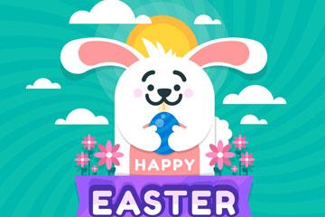 可爱复活节抱彩蛋白兔矢量图