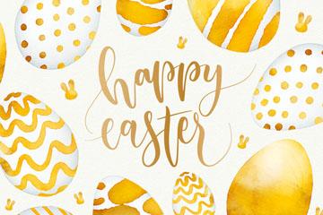 彩绘复活节金色彩蛋矢量素材