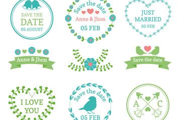 9款蓝色婚礼花纹标签矢量素材