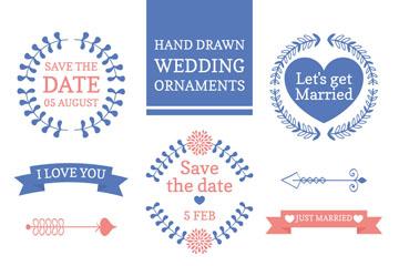 10款蓝色婚礼花纹标签矢量图
