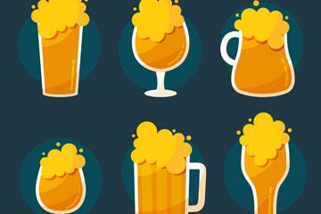 6款创意杯装冒泡啤酒矢量素材