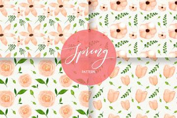 4款彩绘粉色春季花朵无缝背景矢