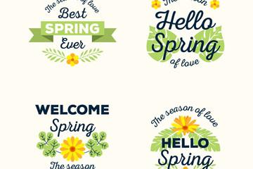 4款创意春季黄色花卉标签矢量图
