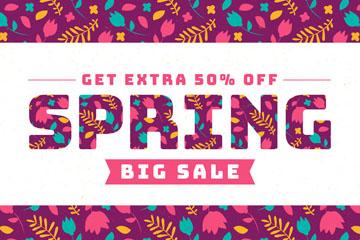 彩色春季花朵半价促销海报矢量图