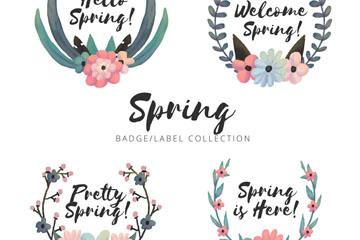 4款水彩绘春季花卉标签矢量图
