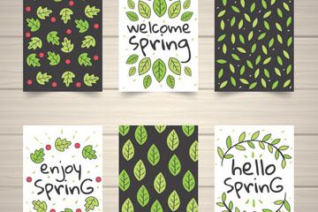 6款手绘春季绿叶卡片矢量素材