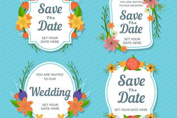 4款创意花卉婚礼徽章矢量素材