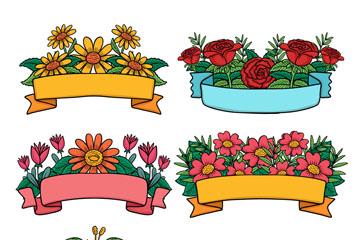 6款彩色花卉装饰空白条幅矢量图