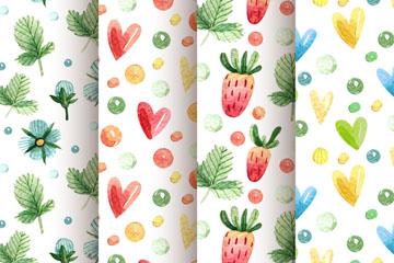 4款可爱树叶和草莓无缝背景矢量