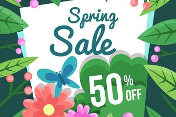 彩色春季花卉半价海报矢量素材