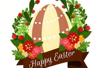 创意复活节彩蛋和花卉矢量素材
