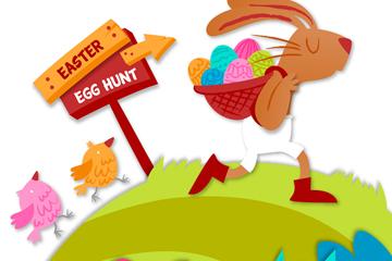 创意背彩蛋的兔子矢量素材