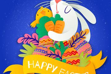 彩色质感兔子和彩蛋矢量素材