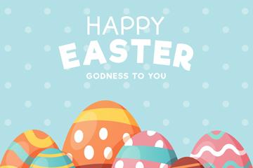 可爱复活节花纹彩蛋矢量素材