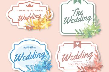 4款素雅婚礼花卉标签矢量素材
