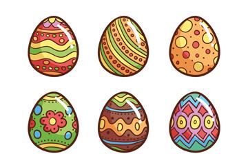 9款彩色光泽彩蛋矢量素材
