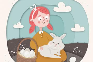 创意复活节女孩和兔子最新网络赌博网站