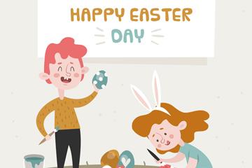 创意复活节画彩蛋的2个孩子矢量图