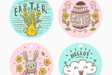 4款彩绘可爱复活节标签矢量图