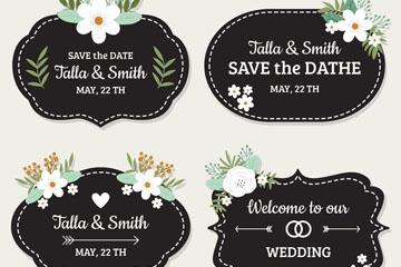 4款黑色婚礼标签矢量素材