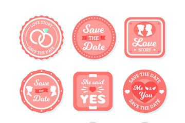 9款粉色婚礼标签设计矢量素材
