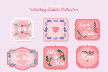 9款创意婚礼标签设计矢量素材