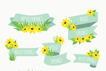 7款黄色春季花卉条幅矢量素材