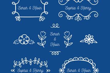 7款白色婚礼花纹矢量素材