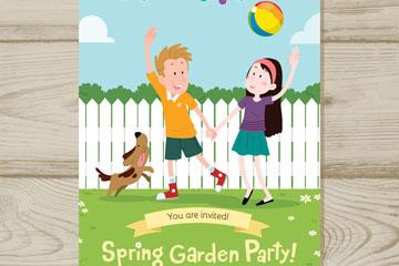 创意玩耍儿童花园派对传单矢量素材