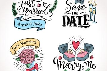 4款彩绘婚礼标签设计矢量素材