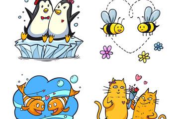 4对可爱情人节动物情侣矢量图