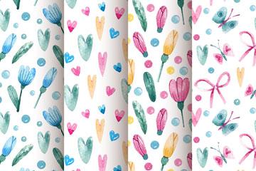 4款水彩绘花卉和爱心无缝背景矢
