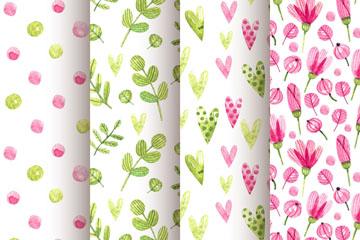 4款水彩绘树叶和花卉无缝背景矢