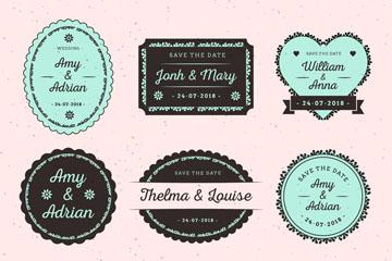6款复古婚礼标签设计矢量素材