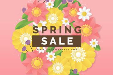 创意春季花卉销售海报矢量素材