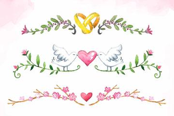 4款彩绘婚礼花边设计矢量素材
