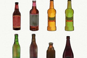 6款手绘瓶装啤酒矢量素材