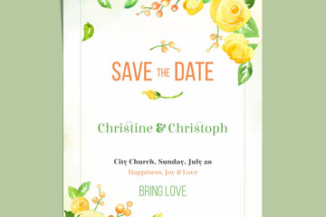 水彩绘黄色玫瑰花婚礼邀请卡矢量